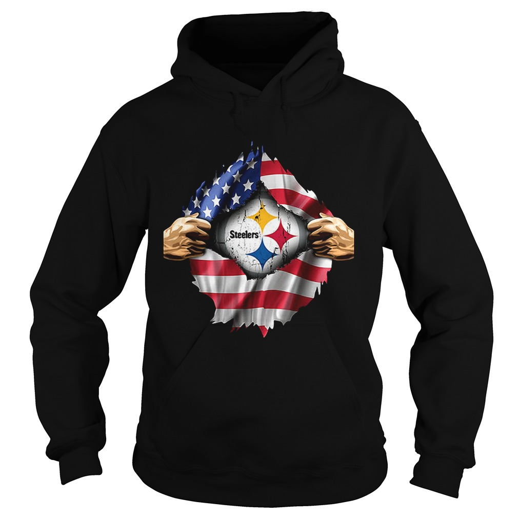 Pittsburgh Steelers inside America flag Independence day 4th of Hoodie