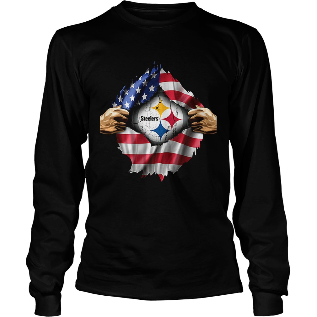 Pittsburgh Steelers inside America flag Independence day 4th of LongSleeve