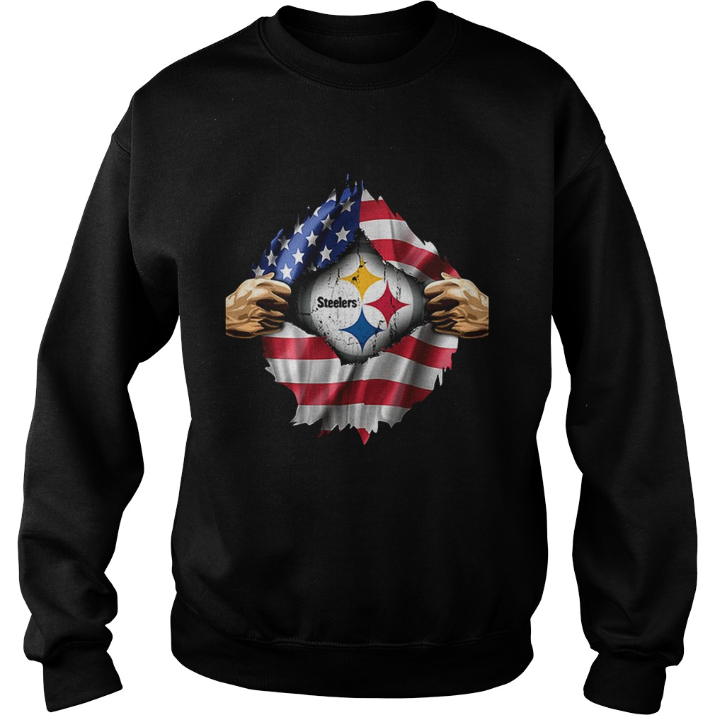 Pittsburgh Steelers inside America flag Independence day 4th of Sweatshirt