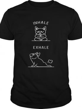 Puggy inhale exhale yoga and dog shirt