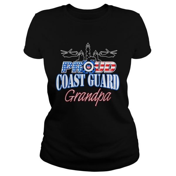 USA Proud Coast Guard Grandpa USA Flag Military  Classic Ladies