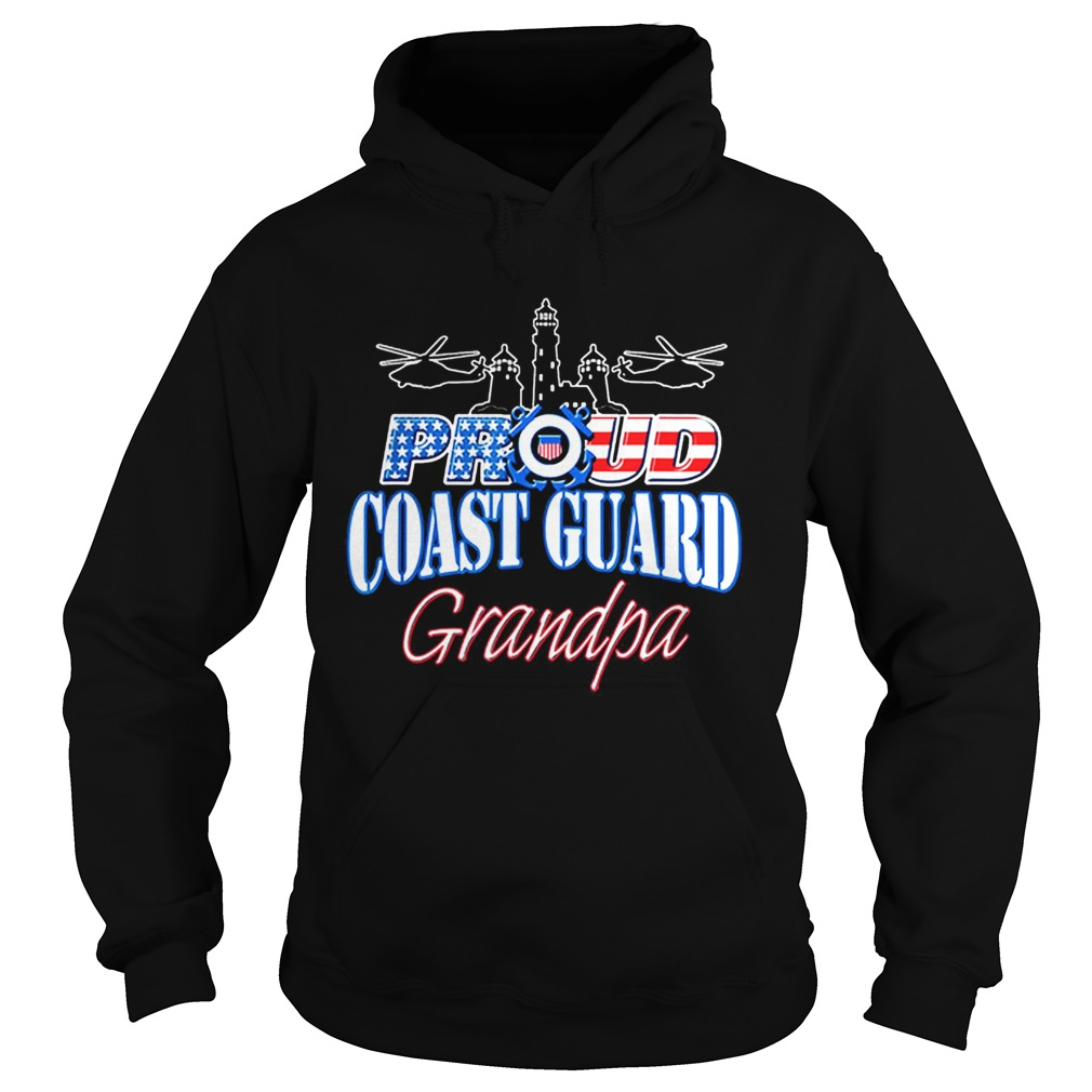 USA Proud Coast Guard Grandpa USA Flag Military Hoodie