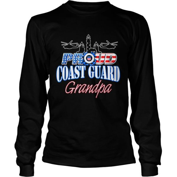 USA Proud Coast Guard Grandpa USA Flag Military  LongSleeve