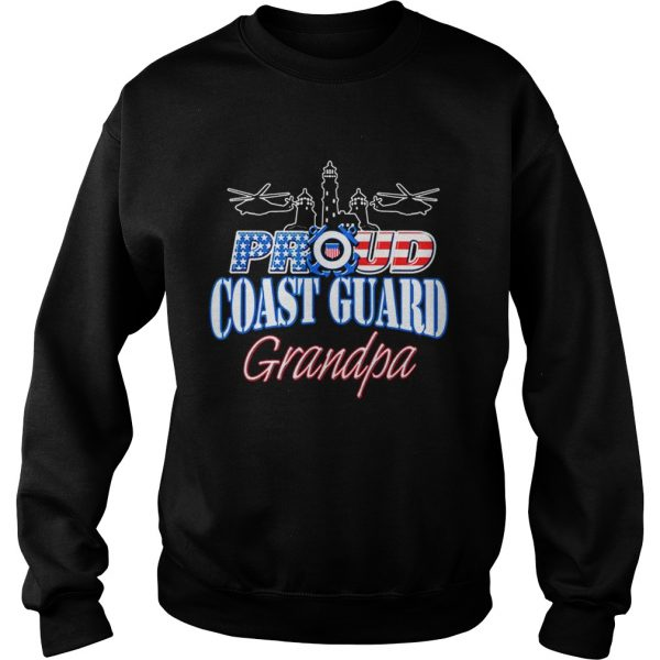 USA Proud Coast Guard Grandpa USA Flag Military  Sweatshirt