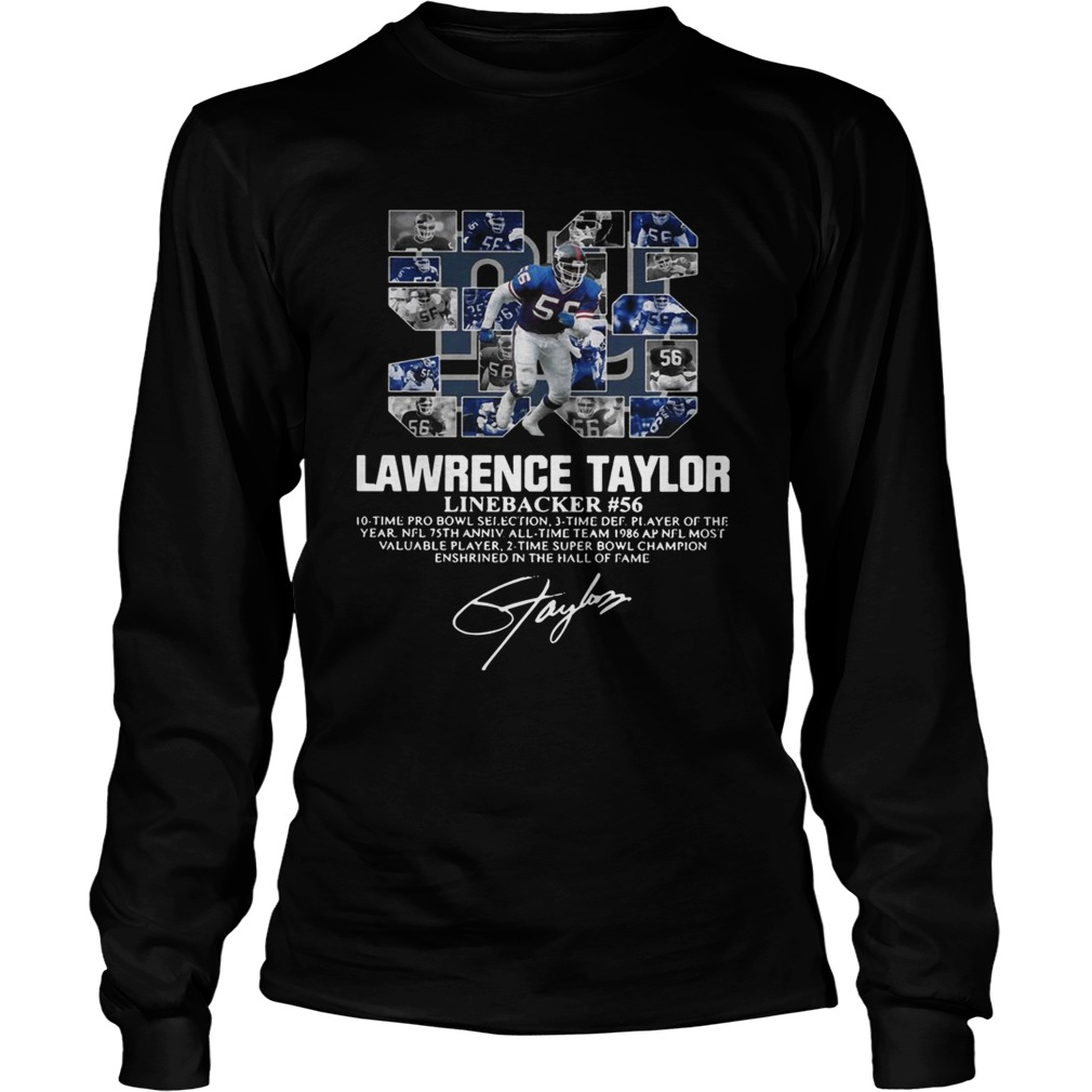 56 Lawrence Taylor Linebacker 56 10 time Pro Bowl selection signature LongSleeve