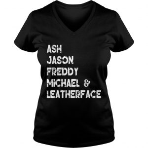 80s Horror Legends Ash Jason Freddy Michael Leatherface Ladies Vneck