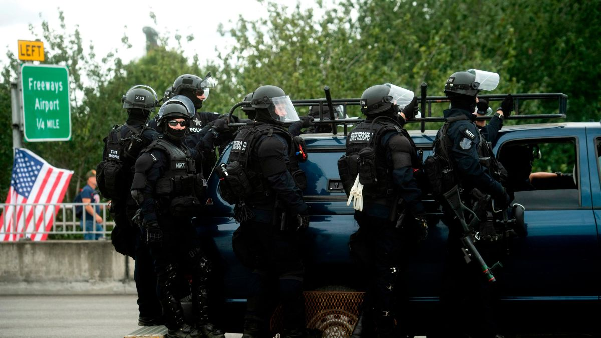 Police ordering demonstrators to leave Portland area where at least 13 people were arrested in dueling protests Dakin Andone byline