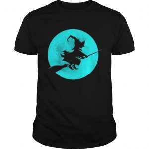 Beautiful Witch On Broom With Full Moon Gift For Halloween Costume  Unisex