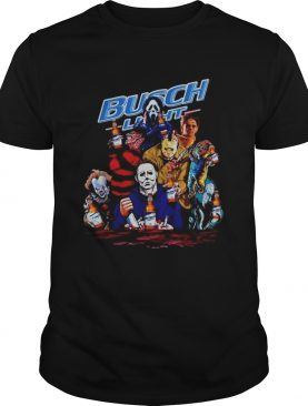 Halloween Horror Characters drinking Busch Light shirt