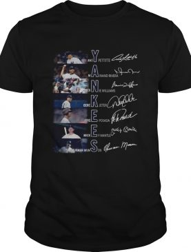 New York Yankees Andy Pettitte Mariano Rivera Bernie Williams signatures shirt