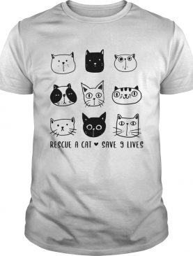 Rescue A Cat Save 9 Lives Cat Lover Gift TShirt