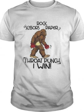 Rock Scissors Paper Throat Punch I Win Funny Bigfoot Shirt