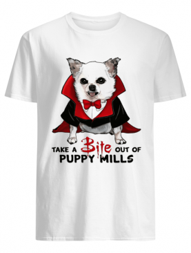 Chihuahua take a bite out of puppy mills shirt