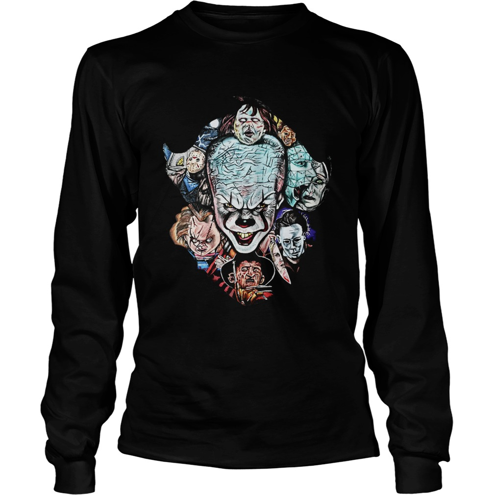 Face of Pennywise mashup Horror Character LongSleeve