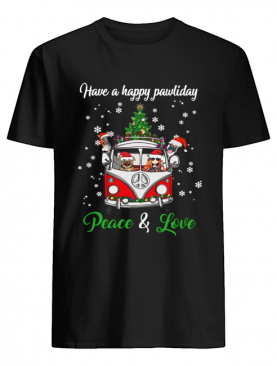 Have a happy pawlidays peace and love girl hippie and Dogs Christmas shirt