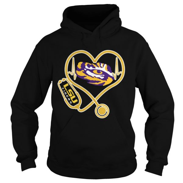 Heartbeat Nurse love LSU Tigers  Hoodie