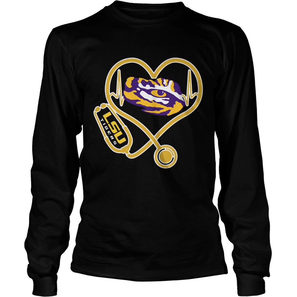 Heartbeat Nurse love LSU Tigers LongSleeve
