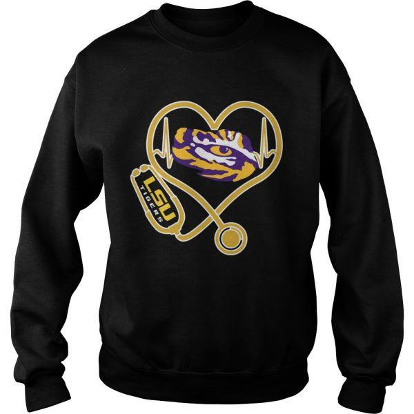 Heartbeat Nurse love LSU Tigers  Sweatshirt
