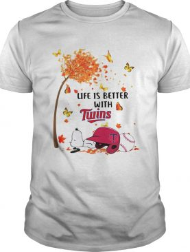 Life is better with Minnesota Twins Snoopy sleeping under autumn tree shirt