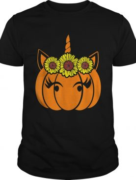 Nice Sunflower Unicorn Heart Pumpkin Costume Halloween Funny shirt