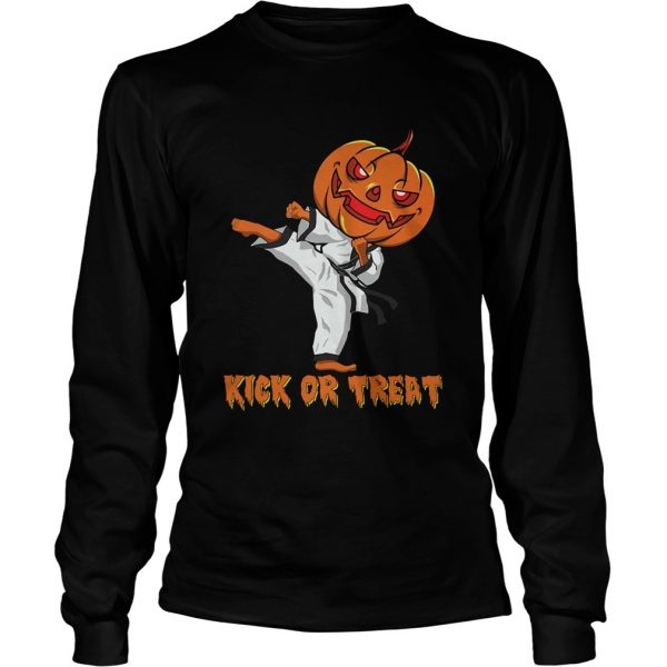 Taekwondo Kick Or Treat Pumpkin Halloween Shirt LongSleeve