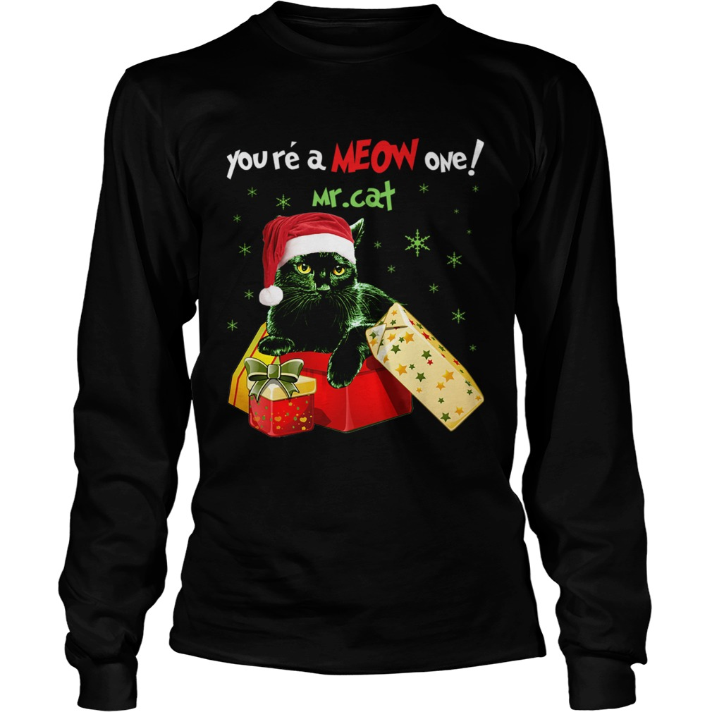 Youre A MEOW One Mr Cat Christmas Holiday Funny TShirt LongSleeve
