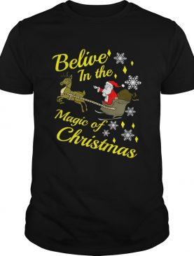 Believe in the magic christmas Santa claus riding reindeer shirt