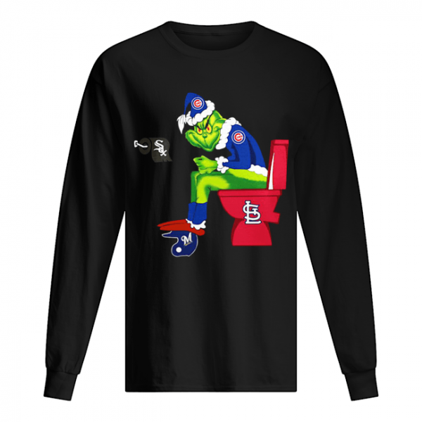 Chicago Cubs Grinch Santa Sitting St.Louis Cardinals Chicago White Sox Milwaukee Brewers  Long Sleeved T-shirt