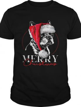 Funny Santa Boston Terrier Merry Christmas dog mom gift shirt