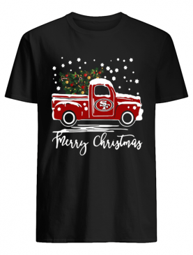 San Francisco 49ers pickup truck Merry Christmas shirt