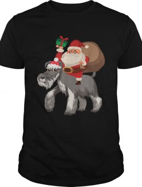 Santa Riding Miniature Schnauzer Christmas Pajama Gift shirt