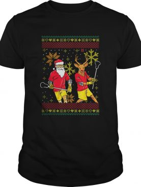 Merry Laxmas Christmas Lacrosse Player Reindeer Santa Claus Ugly shirt
