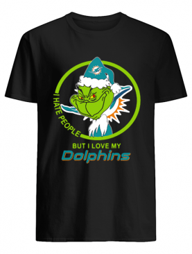 Miami Dolphins NFL Christmas Grinch Santa I Hate People But I Love My Dolphins shirt