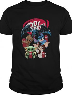 Baby Yoda Groot And Toothless Stitch Gizmo Hugging Dr Pepper shirt