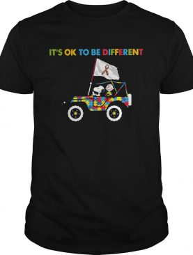 Snoopy And Charlie Brown Driving Autism Its Ok to Be Different shirt