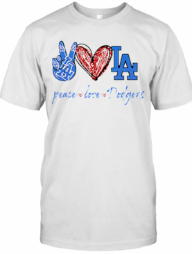 Peace Love Dodgers Logo T-Shirt