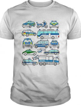 Awesome German Police Cars Policeman Germany Polizei Vehicles shirt
