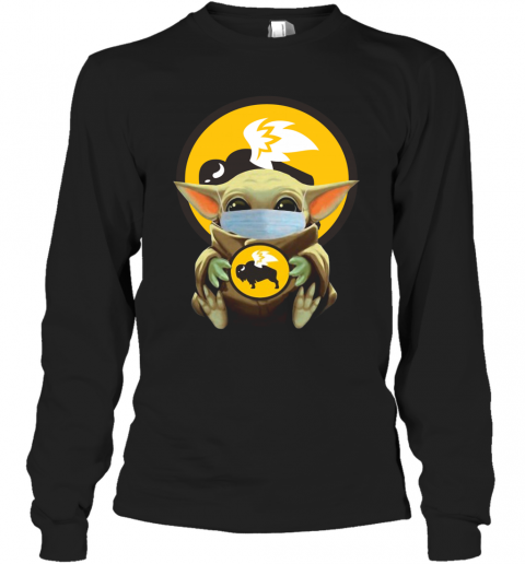 Baby Yoda Face Mask Hug Buffalo Wild Wings T-Shirt Long Sleeved T-shirt