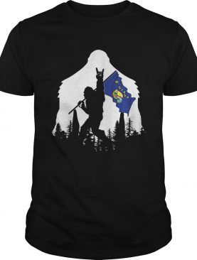 Bigfoot rock and roll montana flag in the forest shirt