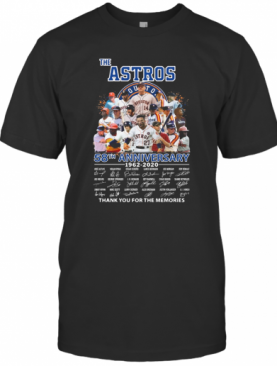 The Houston Astros 58Th Anniversary 1962 2020 Signatures Thank You For The Memories T-Shirt