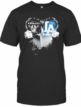 Blood Inside Oakland Raiders And Los Angeles Dodgers Heart Heartbeat T-Shirt