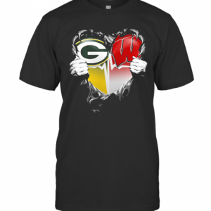 Blood Insides Green Bay Packers And Wisconsin Badgers Heart Heartbeat T-Shirt Classic Men's T-shirt