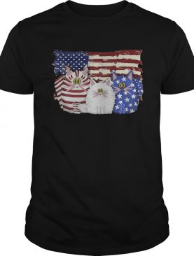 Cat 2 flag US American flag Independence Day veteran shirt