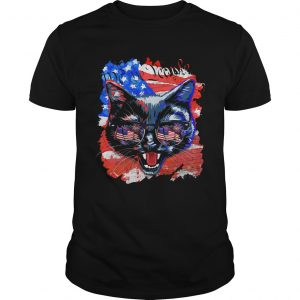 Cat American flag veteran Independence Day  Unisex