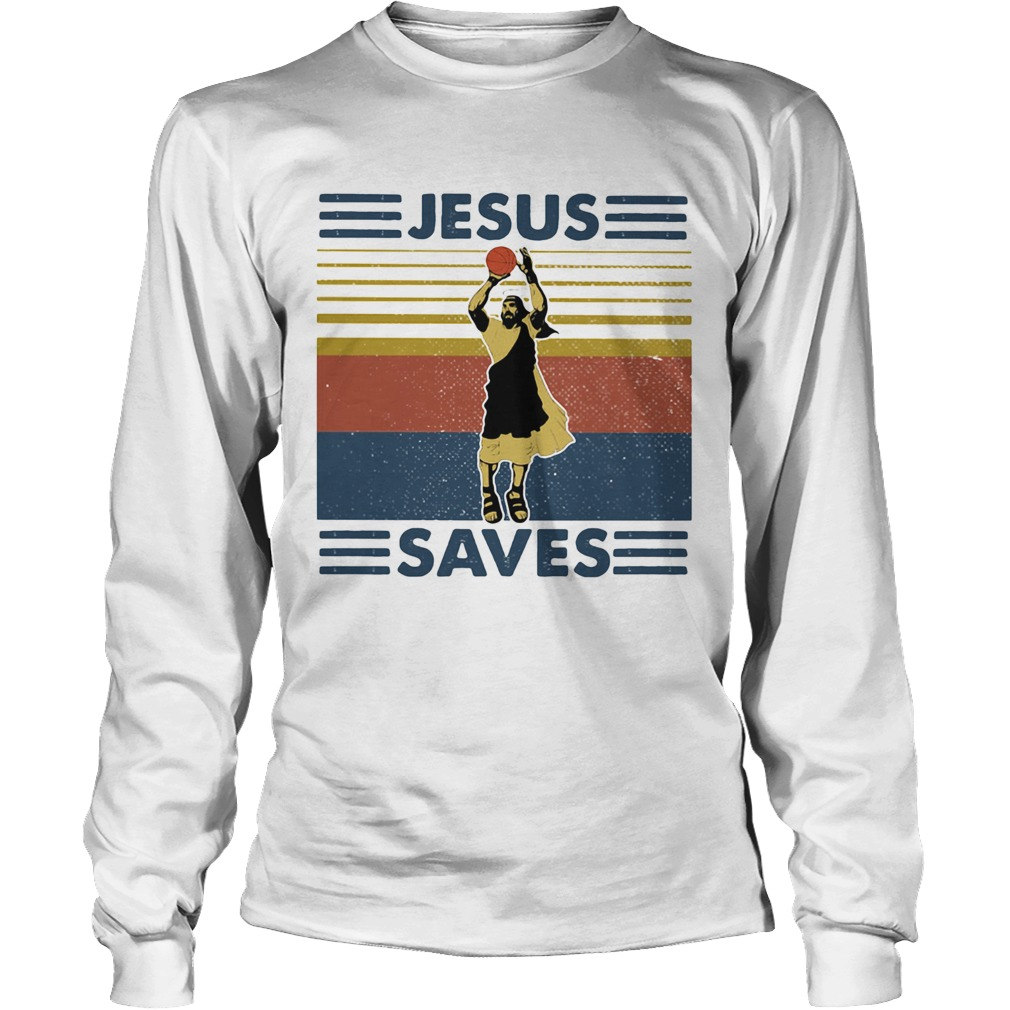 Jesus save volleyball vintage Long Sleeve