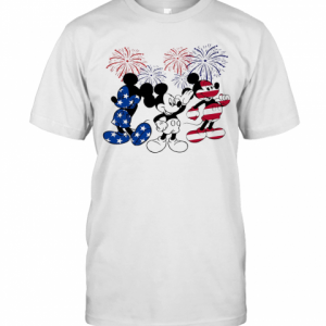 Mickey Mouse American Flag Firework Independence Day T-Shirt Classic Men's T-shirt