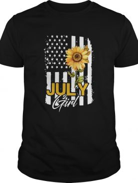 Sunflowers American Flag July Girl shirt