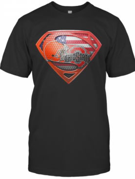 Superman Cleveland Browns And Cleveland Indians American Flag Independence Day T-Shirt