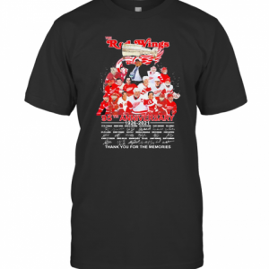 THE RED WINGS 95TH ANNIVERSARY 1926 2021 THANK YOU FOR THE MEMORIES SIGNATURES T-SHIRT