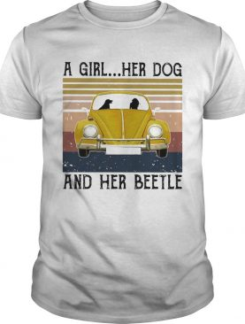 Volkswagen beetle a girl her dog and her beetle vintage shirt